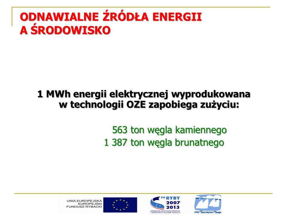 ODNAWIALNE ŹRÓDŁA ENERGII A ŚRODOWISKO 1 MWh energii elektrycznej wyprodukowana w technologii OZE zapobiega zużyciu: 563 ton węgla kamiennego 1 387 to