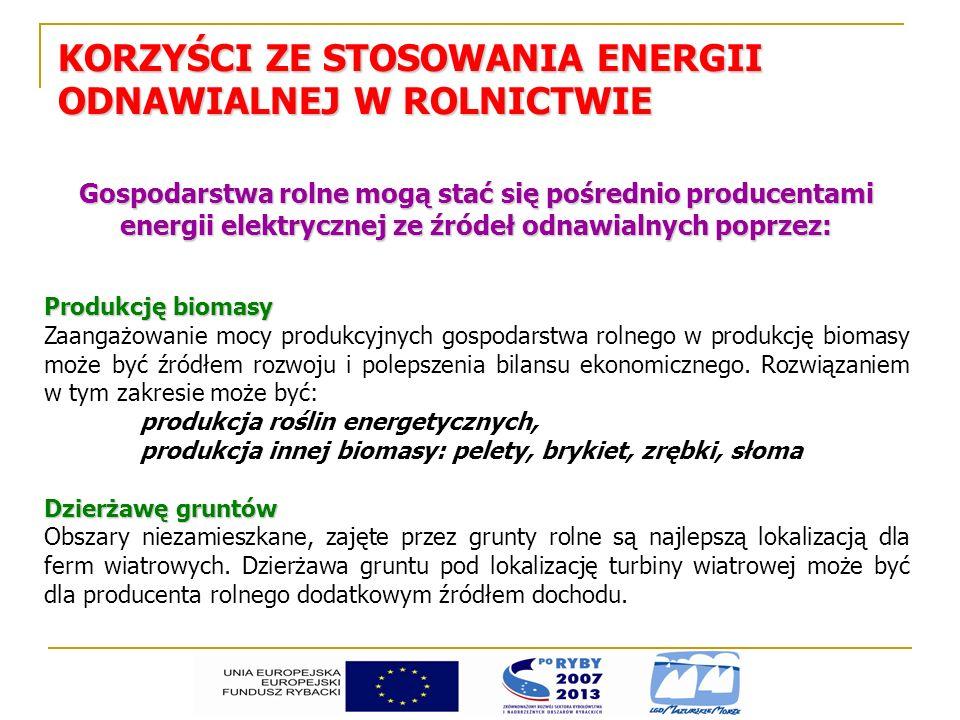 KORZYŚCI ZE STOSOWANIA ENERGII ODNAWIALNEJ W ROLNICTWIE Gospodarstwa rolne mogą stać się pośrednio producentami energii elektrycznej ze źródeł odnawia