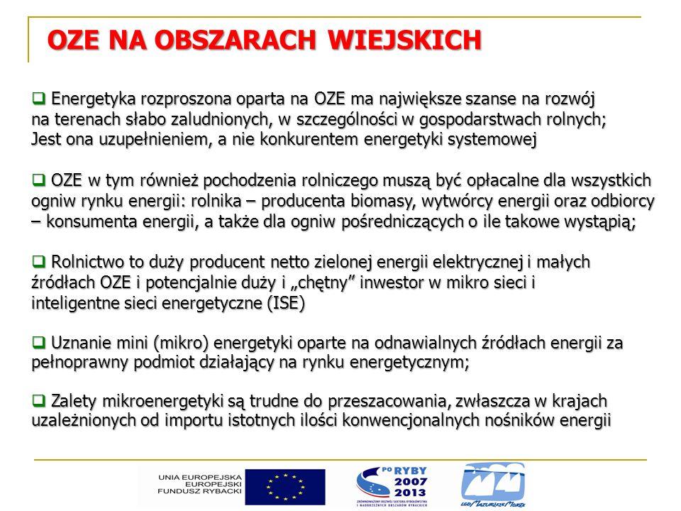 ODNAWIALNE ŹRÓDŁA ENERGII A ŚRODOWISKO 1 MWh energii elektrycznej z OZE zapobiega emisji 3,329 kg SO 2 1,473 kg NO 2 792 kg CO 2 (koszt pozwolenia w 2012 r.