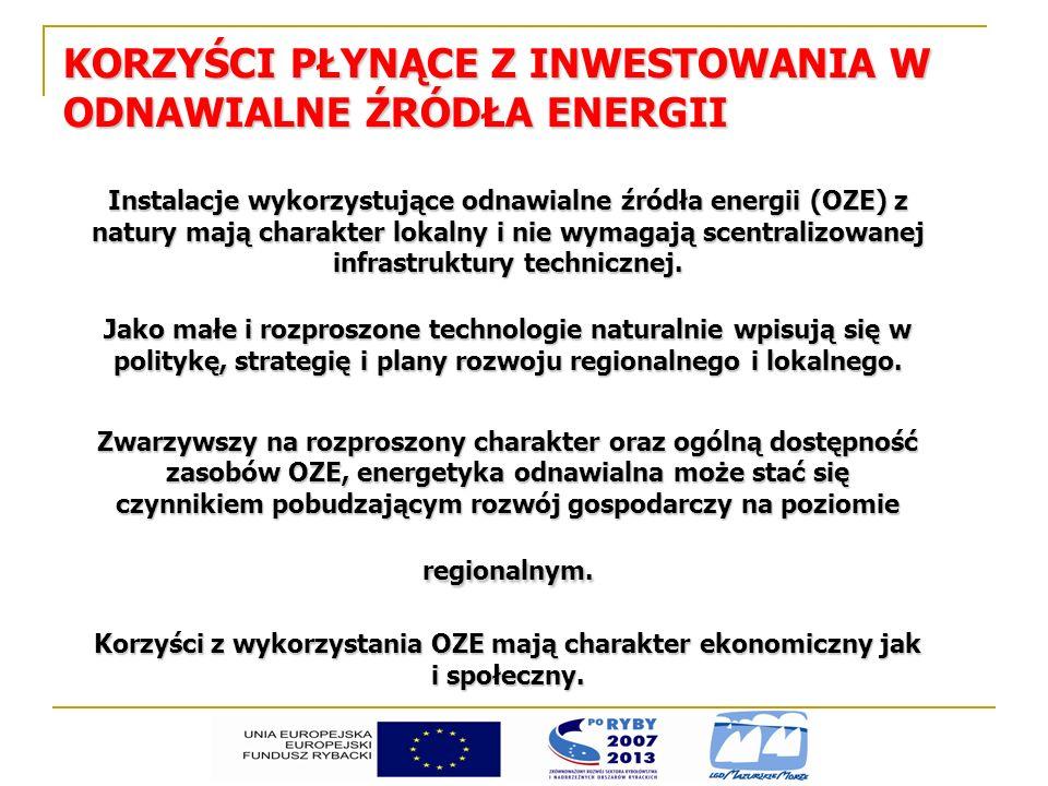 KORZYŚCI EKONOMICZNE PŁYNĄCE Z INWESTOWANIA W OZE zmniejszenie importu paliw z zagranicy, zmniejszenie importu paliw z zagranicy, zwiększenie lokalnego bezpieczeństwa energetycznego, zwiększenie lokalnego bezpieczeństwa energetycznego, aktywizacja gospodarcza lokalnych społeczności, aktywizacja gospodarcza lokalnych społeczności, poprawa koniunktury gospodarczej, poprawa koniunktury gospodarczej, rozwój infrastruktury lokalnej (drogi, infrastruktura przesyłowa i dystrybucyjna), rozwój infrastruktury lokalnej (drogi, infrastruktura przesyłowa i dystrybucyjna), poprawa bilansu handlowego gminy/powiatu wykorzystującej OZE poprawa bilansu handlowego gminy/powiatu wykorzystującej OZE ( zmiana kierunku przepływu strumieni płatności za energię; zmniejszenie wydatków na zakup paliw i energii spoza gminy, powiatu; przychody ze sprzedaży energii, surowców energetycznych poza gminę, powiat) częściowe uniezależnienie od źródeł konwencjonalnych, poprawa zaopatrzenia w energie na terenach o słabo rozwiniętej infrastrukturze, częściowe uniezależnienie od źródeł konwencjonalnych, poprawa zaopatrzenia w energie na terenach o słabo rozwiniętej infrastrukturze,