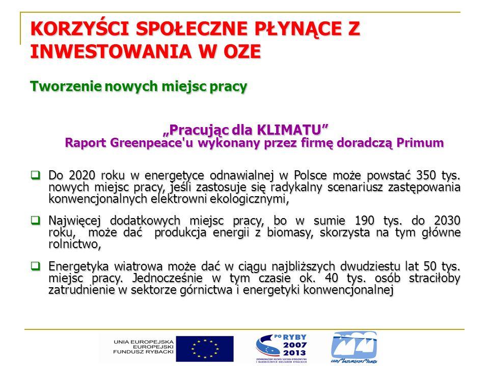Tworzenie nowych miejsc pracy Pracując dla KLIMATU Raport Greenpeace'u wykonany przez firmę doradczą Primum Do 2020 roku w energetyce odnawialnej w Po