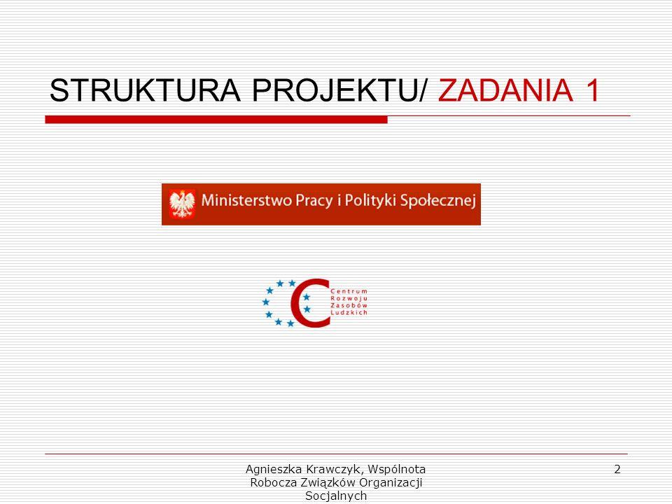 Agnieszka Krawczyk, Wspólnota Robocza Związków Organizacji Socjalnych 2 STRUKTURA PROJEKTU/ ZADANIA 1