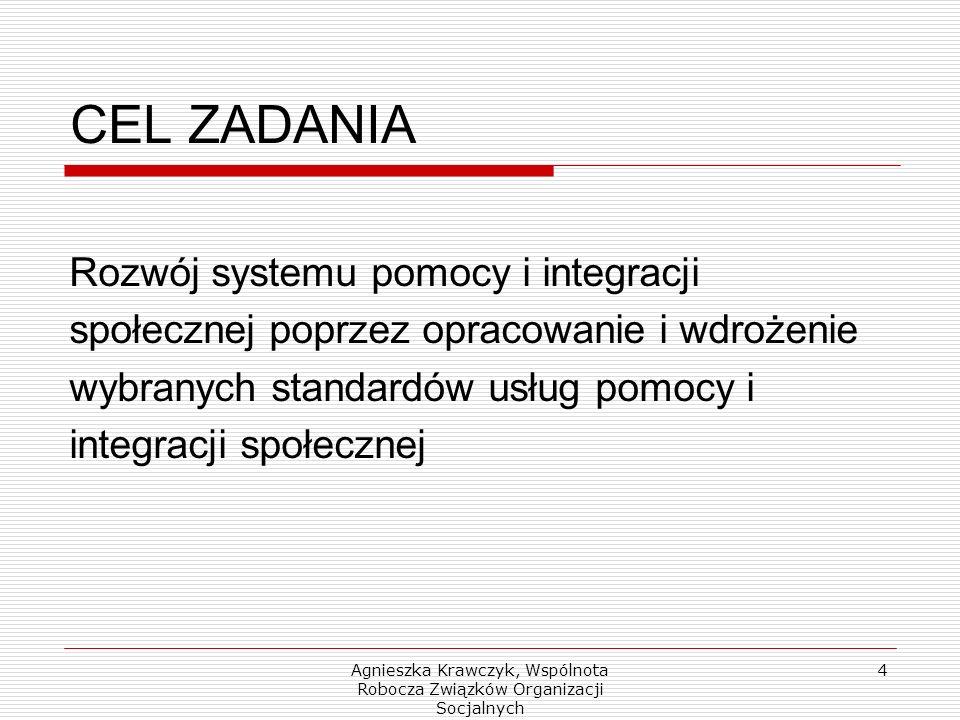 Agnieszka Krawczyk, Wspólnota Robocza Związków Organizacji Socjalnych 4 CEL ZADANIA Rozwój systemu pomocy i integracji społecznej poprzez opracowanie i wdrożenie wybranych standardów usług pomocy i integracji społecznej
