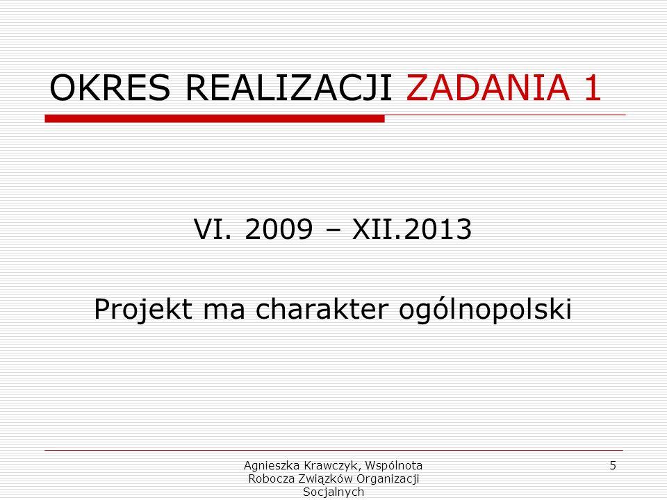 Agnieszka Krawczyk, Wspólnota Robocza Związków Organizacji Socjalnych 5 OKRES REALIZACJI ZADANIA 1 VI.