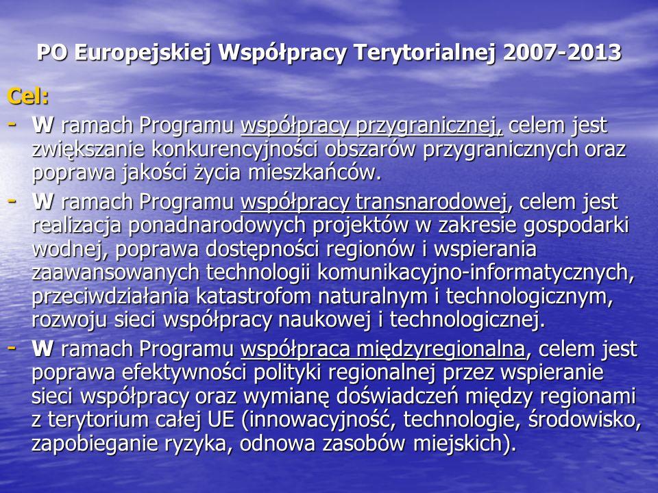PO Europejskiej Współpracy Terytorialnej 2007-2013 Cel: - W ramach Programu współpracy przygranicznej, celem jest zwiększanie konkurencyjności obszarów przygranicznych oraz poprawa jakości życia mieszkańców.