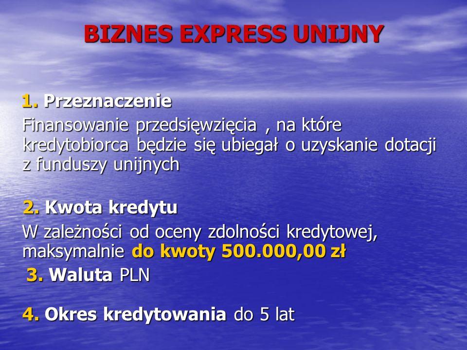BIZNES EXPRESS UNIJNY 1. Przeznaczenie 1.