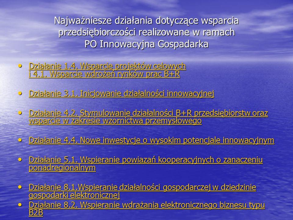 Najważniesze działania dotyczące wsparcia przedsiębiorczości realizowane w ramach PO Innowacyjna Gospadarka Działanie 1.4.