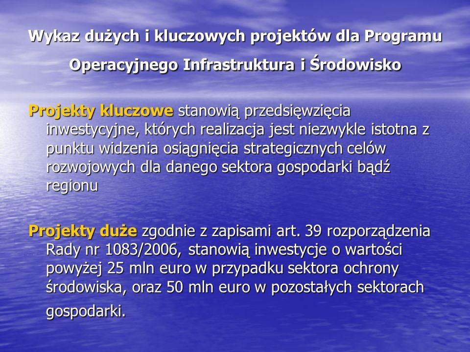 Wykaz dużych i kluczowych projektów dla Programu Operacyjnego Infrastruktura i Środowisko Projekty kluczowe stanowią przedsięwzięcia inwestycyjne, których realizacja jest niezwykle istotna z punktu widzenia osiągnięcia strategicznych celów rozwojowych dla danego sektora gospodarki bądź regionu Projekty duże zgodnie z zapisami art.