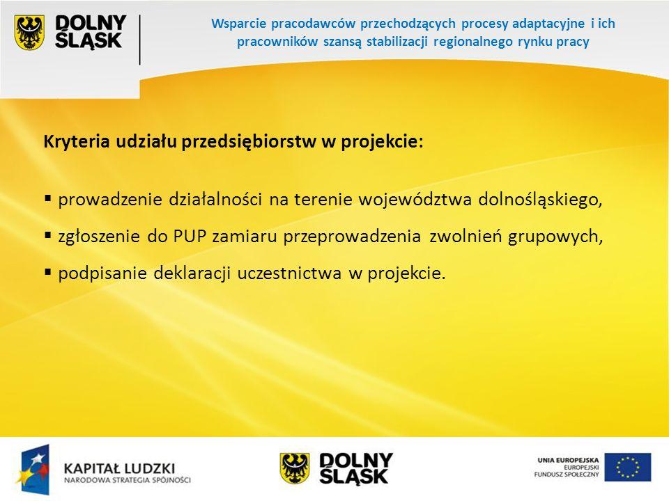 Wsparcie pracodawców przechodzących procesy adaptacyjne i ich pracowników szansą stabilizacji regionalnego rynku pracy Kryteria udziału przedsiębiorstw w projekcie: prowadzenie działalności na terenie województwa dolnośląskiego, zgłoszenie do PUP zamiaru przeprowadzenia zwolnień grupowych, podpisanie deklaracji uczestnictwa w projekcie.