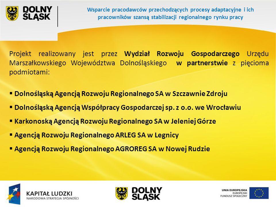 Wsparcie pracodawców przechodzących procesy adaptacyjne i ich pracowników szansą stabilizacji regionalnego rynku pracy Okres realizacji projektu: grudzień 2009 r.