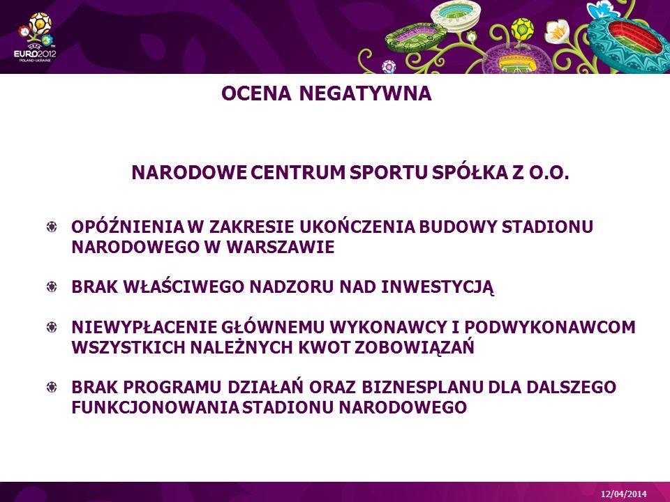 12/04/2014 NARODOWE CENTRUM SPORTU SPÓŁKA Z O.O.