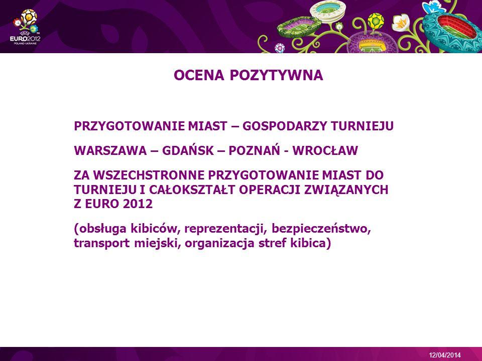 12/04/2014 OCENA POZYTYWNA PRZYGOTOWANIE MIAST – GOSPODARZY TURNIEJU WARSZAWA – GDAŃSK – POZNAŃ - WROCŁAW ZA WSZECHSTRONNE PRZYGOTOWANIE MIAST DO TURNIEJU I CAŁOKSZTAŁT OPERACJI ZWIĄZANYCH Z EURO 2012 (obsługa kibiców, reprezentacji, bezpieczeństwo, transport miejski, organizacja stref kibica)