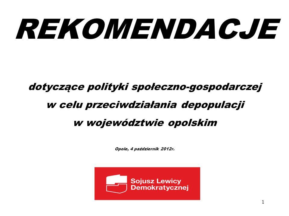 REKOMENDACJE dotyczące polityki społeczno-gospodarczej w celu przeciwdziałania depopulacji w województwie opolskim Opole, 4 październik 2012r. 1