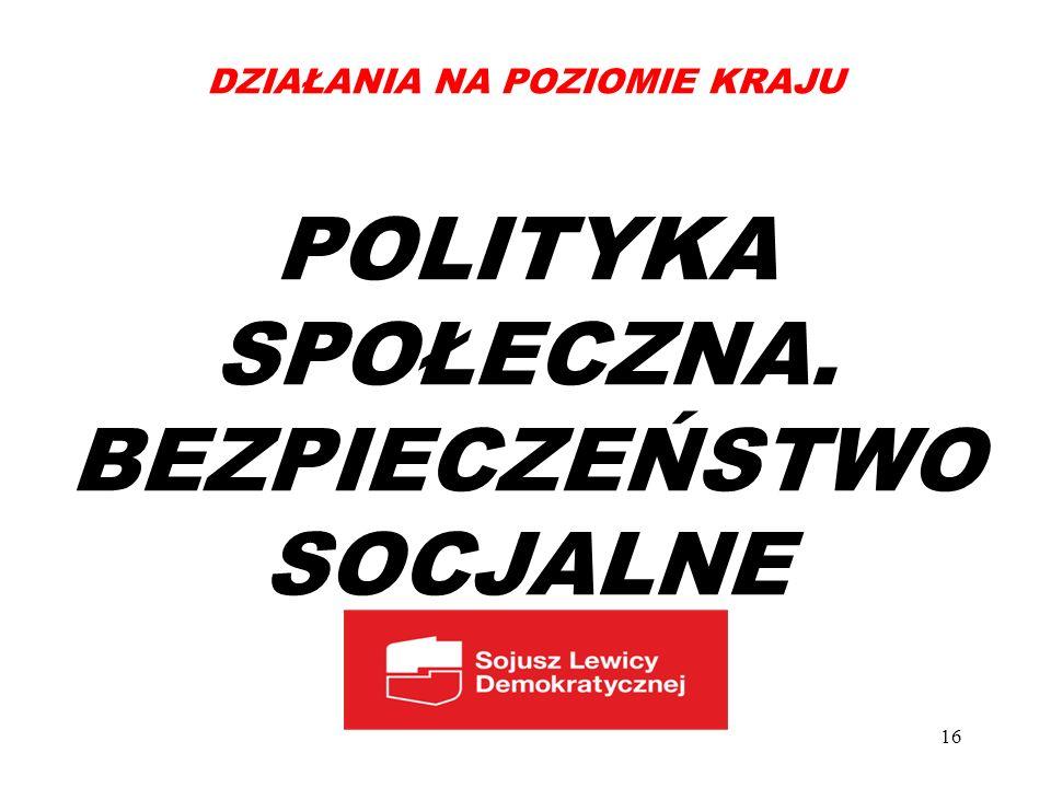 DZIAŁANIA NA POZIOMIE KRAJU POLITYKA SPOŁECZNA. BEZPIECZEŃSTWO SOCJALNE 16