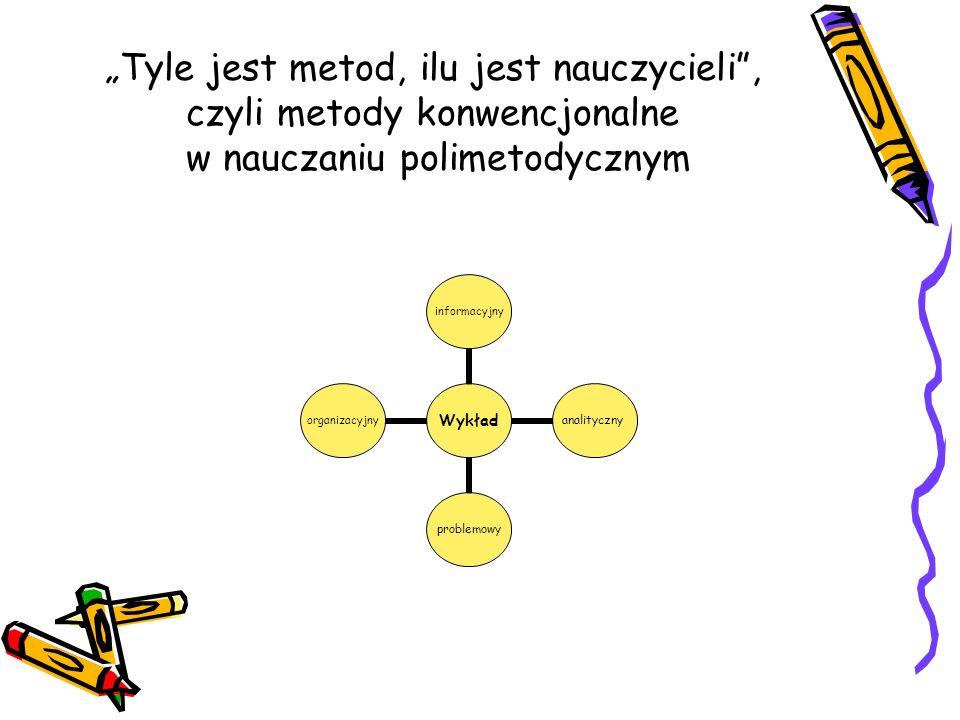 Tyle jest metod, ilu jest nauczycieli, czyli metody konwencjonalne w nauczaniu polimetodycznym Wykład informacyjnyanalitycznyproblemowyorganizacyjny