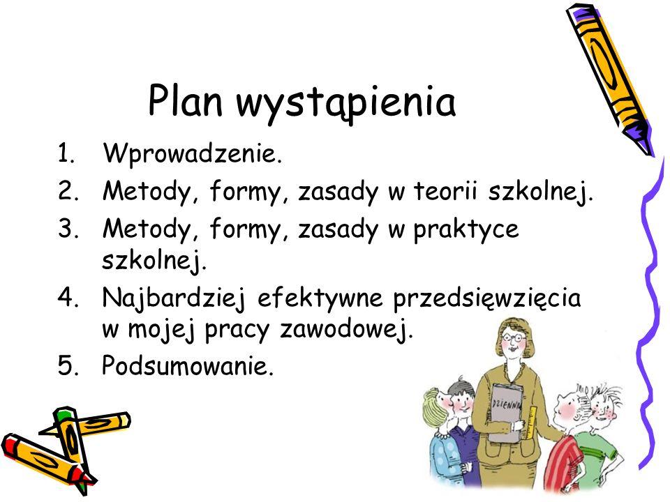 Plan wystąpienia 1.Wprowadzenie. 2.Metody, formy, zasady w teorii szkolnej. 3.Metody, formy, zasady w praktyce szkolnej. 4.Najbardziej efektywne przed