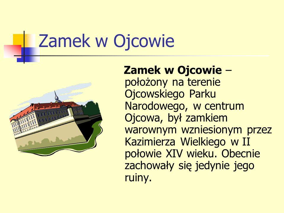 Zamek w Ojcowie Zamek w Ojcowie – położony na terenie Ojcowskiego Parku Narodowego, w centrum Ojcowa, był zamkiem warownym wzniesionym przez Kazimierz