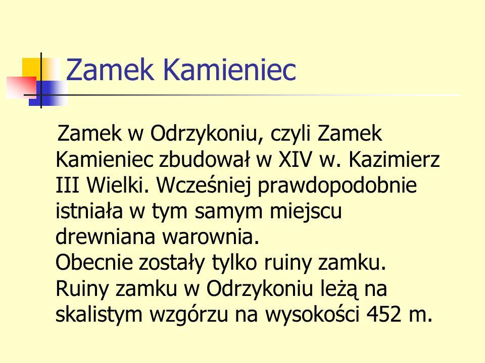 Zamek Kamieniec Zamek w Odrzykoniu, czyli Zamek Kamieniec zbudował w XIV w. Kazimierz III Wielki. Wcześniej prawdopodobnie istniała w tym samym miejsc