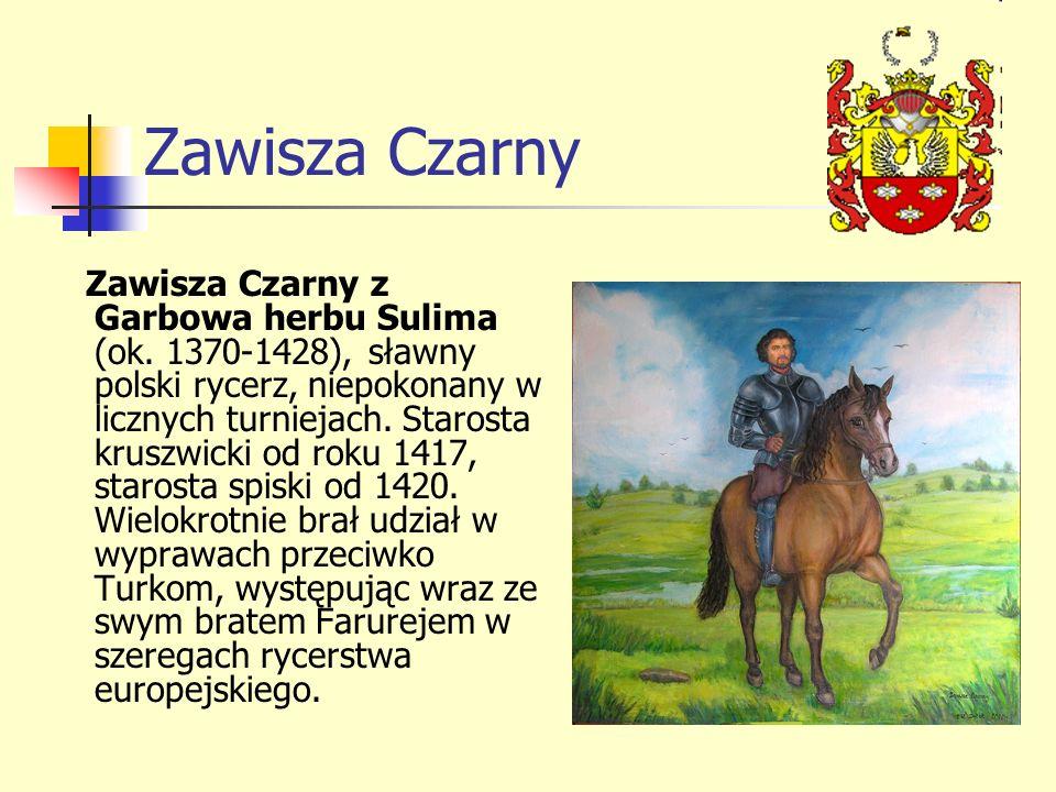 Zawisza Czarny Zawisza Czarny z Garbowa herbu Sulima (ok. 1370-1428), sławny polski rycerz, niepokonany w licznych turniejach. Starosta kruszwicki od
