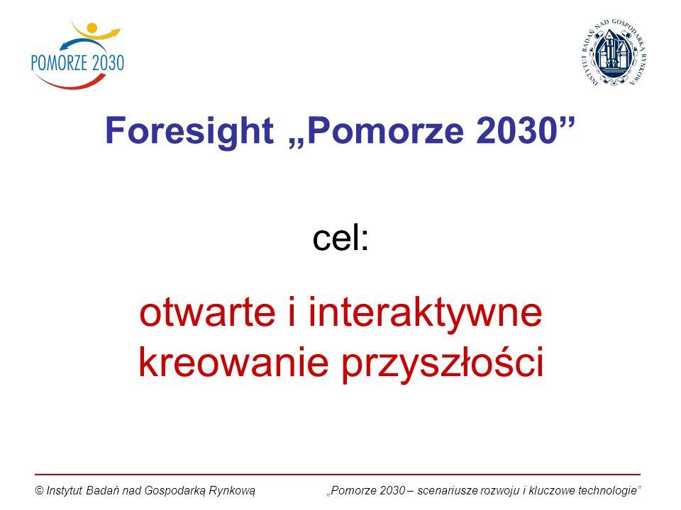 Pomorze 2030 – scenariusze rozwoju i kluczowe technologie© Instytut Badań nad Gospodarką Rynkową cel: otwarte i interaktywne kreowanie przyszłości Foresight Pomorze 2030