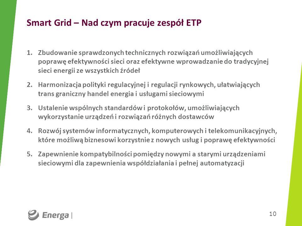 Smart Grid – Nad czym pracuje zespół ETP 1.Zbudowanie sprawdzonych technicznych rozwiązań umożliwiających poprawę efektywności sieci oraz efektywne wp