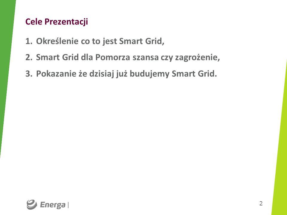 Cele Prezentacji 1.Określenie co to jest Smart Grid, 2.Smart Grid dla Pomorza szansa czy zagrożenie, 3.Pokazanie że dzisiaj już budujemy Smart Grid. 2