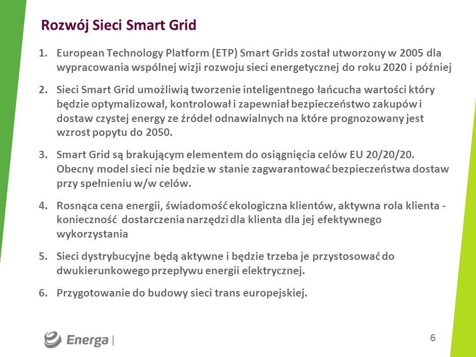 Rozwój Sieci Smart Grid 1.European Technology Platform (ETP) Smart Grids został utworzony w 2005 dla wypracowania wspólnej wizji rozwoju sieci energet