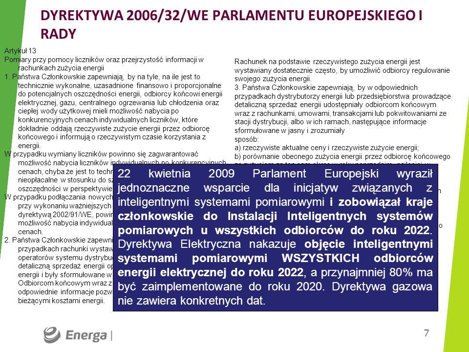 DYREKTYWA 2006/32/WE PARLAMENTU EUROPEJSKIEGO I RADY 7 Artykuł 13 Pomiary przy pomocy liczników oraz przejrzystość informacji w rachunkach zużycia ene