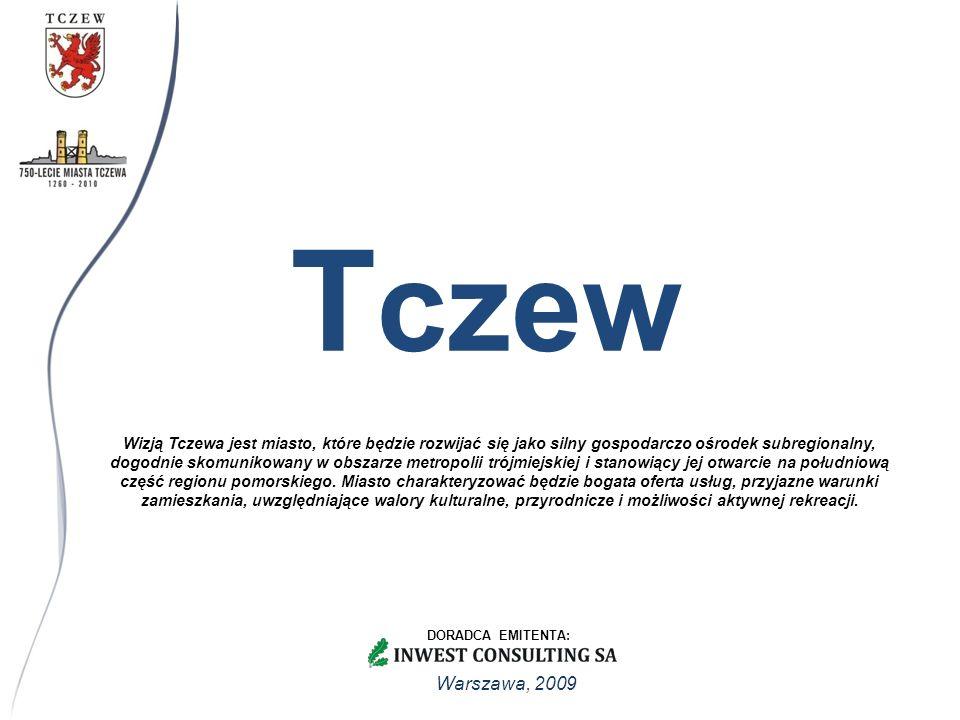 Warszawa, 2009 Wizją Tczewa jest miasto, które będzie rozwijać się jako silny gospodarczo ośrodek subregionalny, dogodnie skomunikowany w obszarze metropolii trójmiejskiej i stanowiący jej otwarcie na południową część regionu pomorskiego.