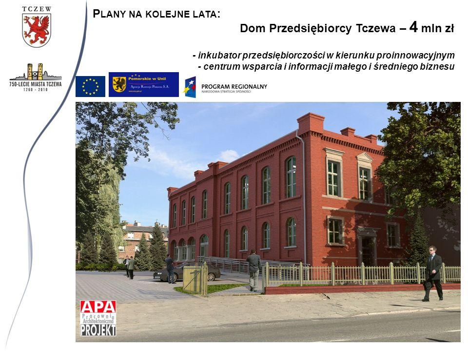 Dom Przedsiębiorcy Tczewa – 4 mln zł - inkubator przedsiębiorczości w kierunku proinnowacyjnym - centrum wsparcia i informacji małego i średniego biznesu P LANY NA KOLEJNE LATA :