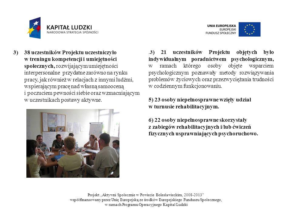 3) 38 uczestników Projektu uczestniczyło w treningu kompetencji i umiejętności społecznych, rozwijającym umiejętności interpersonalne przydatne zarówno na rynku pracy, jak również w relacjach z innymi ludźmi, wspierającym pracę nad własną samooceną i poczuciem pewności siebie oraz wzmacniającym w uczestnikach postawy aktywne..