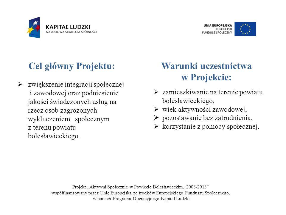 Cel główny Projektu: zwiększenie integracji społecznej i zawodowej oraz podniesienie jakości świadczonych usług na rzecz osób zagrożonych wykluczeniem społecznym z terenu powiatu bolesławieckiego.