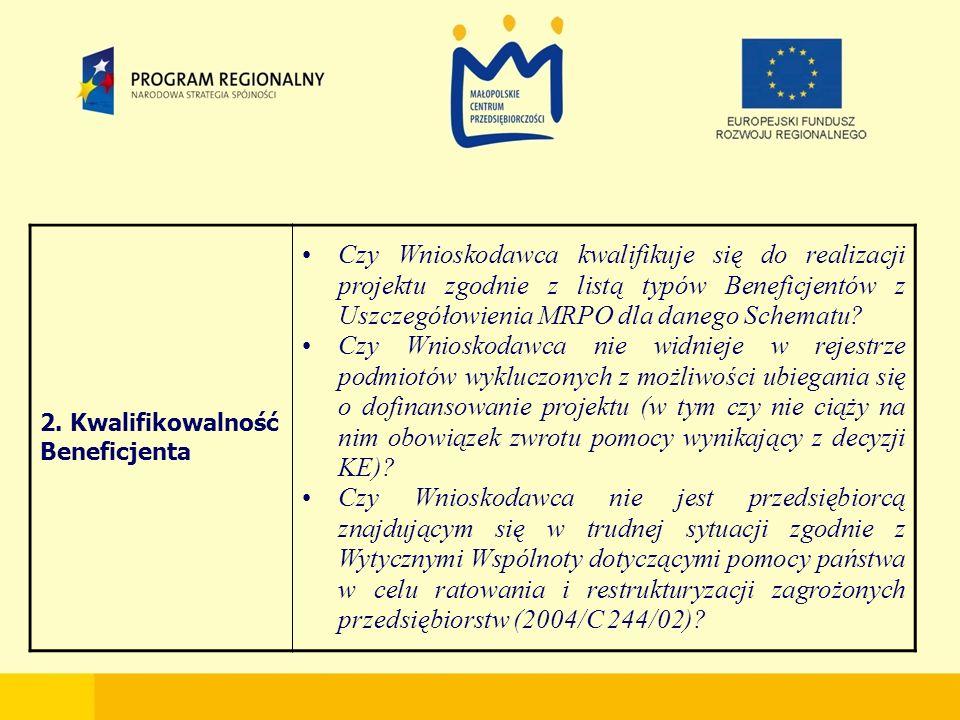 2. Kwalifikowalność Beneficjenta Czy Wnioskodawca kwalifikuje się do realizacji projektu zgodnie z listą typów Beneficjentów z Uszczegółowienia MRPO d