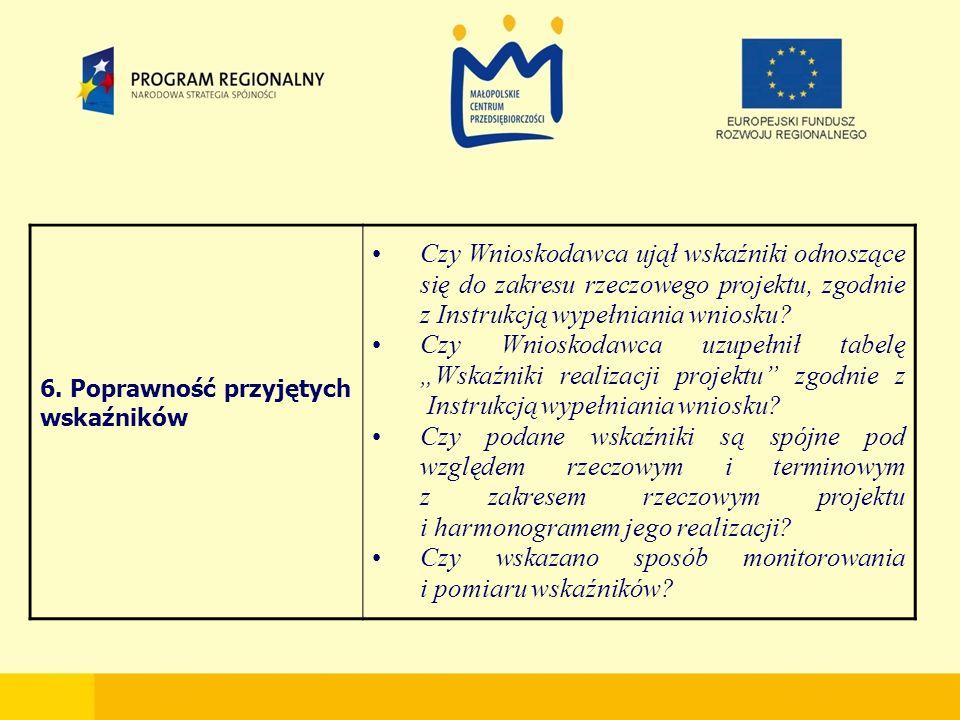 6. Poprawność przyjętych wskaźników Czy Wnioskodawca ujął wskaźniki odnoszące się do zakresu rzeczowego projektu, zgodnie z Instrukcją wypełniania wni