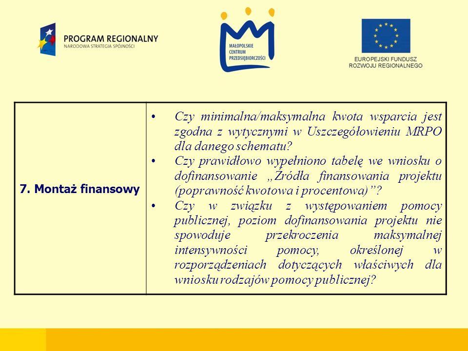 7. Montaż finansowy Czy minimalna/maksymalna kwota wsparcia jest zgodna z wytycznymi w Uszczegółowieniu MRPO dla danego schematu? Czy prawidłowo wypeł