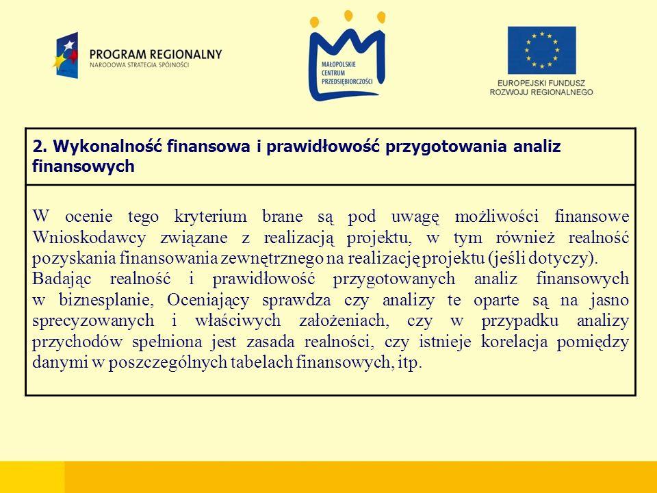 2. Wykonalność finansowa i prawidłowość przygotowania analiz finansowych W ocenie tego kryterium brane są pod uwagę możliwości finansowe Wnioskodawcy