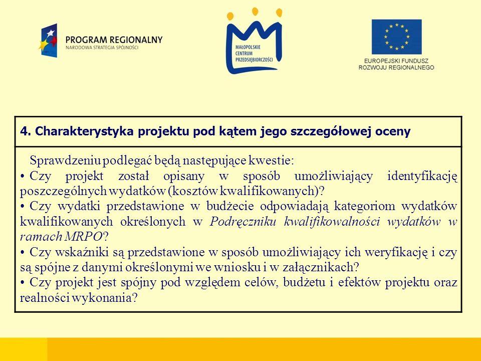 4. Charakterystyka projektu pod kątem jego szczegółowej oceny Sprawdzeniu podlegać będą następujące kwestie: Czy projekt został opisany w sposób umożl