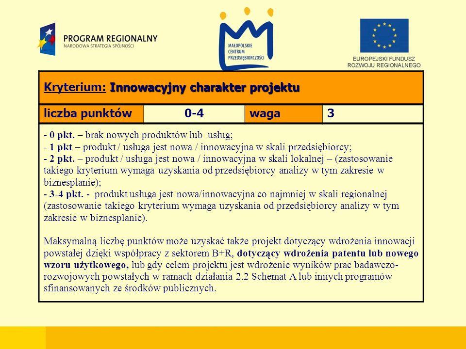 Innowacyjny charakter projektu Kryterium: Innowacyjny charakter projektu liczba punktów0-4waga3 - 0 pkt.