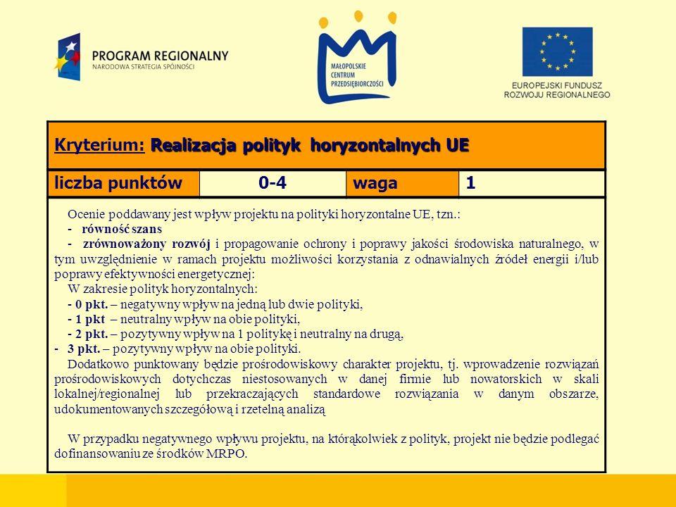 Realizacja polityk horyzontalnych UE Kryterium: Realizacja polityk horyzontalnych UE liczba punktów0-4waga1 Ocenie poddawany jest wpływ projektu na polityki horyzontalne UE, tzn.: - równość szans - zrównoważony rozwój i propagowanie ochrony i poprawy jakości środowiska naturalnego, w tym uwzględnienie w ramach projektu możliwości korzystania z odnawialnych źródeł energii i/lub poprawy efektywności energetycznej: W zakresie polityk horyzontalnych: - 0 pkt.