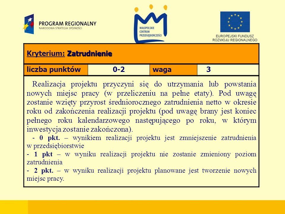 Zatrudnienie Kryterium: Zatrudnienie liczba punktów0-2waga 3 Realizacja projektu przyczyni się do utrzymania lub powstania nowych miejsc pracy (w przeliczeniu na pełne etaty).