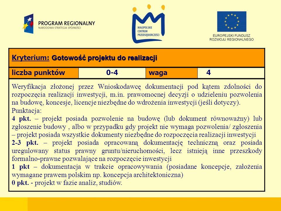 Gotowość projektu do realizacji Kryterium: Gotowość projektu do realizacji liczba punktów0-4waga 4 Weryfikacja złożonej przez Wnioskodawcę dokumentacji pod kątem zdolności do rozpoczęcia realizacji inwestycji, m.in.