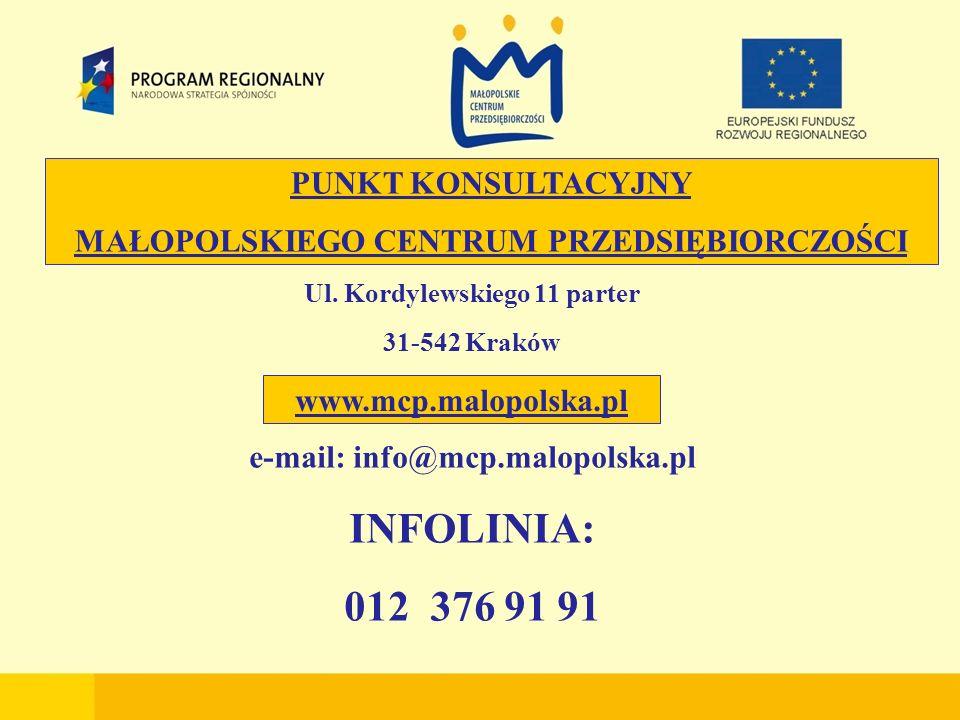 Ul. Kordylewskiego 11 parter 31-542 Kraków e-mail: info@mcp.malopolska.pl INFOLINIA: 012 376 91 91 PUNKT KONSULTACYJNY MAŁOPOLSKIEGO CENTRUM PRZEDSIĘB