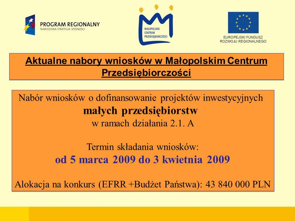 Aktualne nabory wniosków w Małopolskim Centrum Przedsiębiorczości Nabór wniosków o dofinansowanie projektów inwestycyjnych małych przedsiębiorstw w ramach działania 2.1.