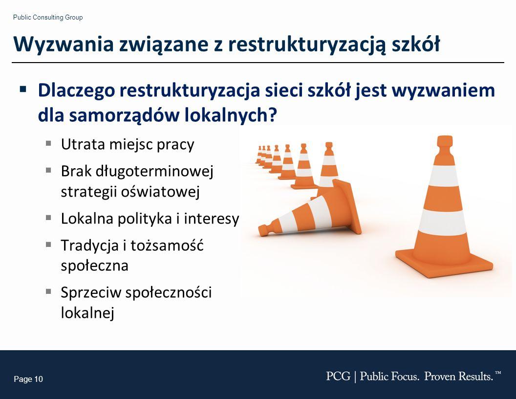 Public Consulting Group Page 10 Wyzwania związane z restrukturyzacją szkół Dlaczego restrukturyzacja sieci szkół jest wyzwaniem dla samorządów lokalnych.