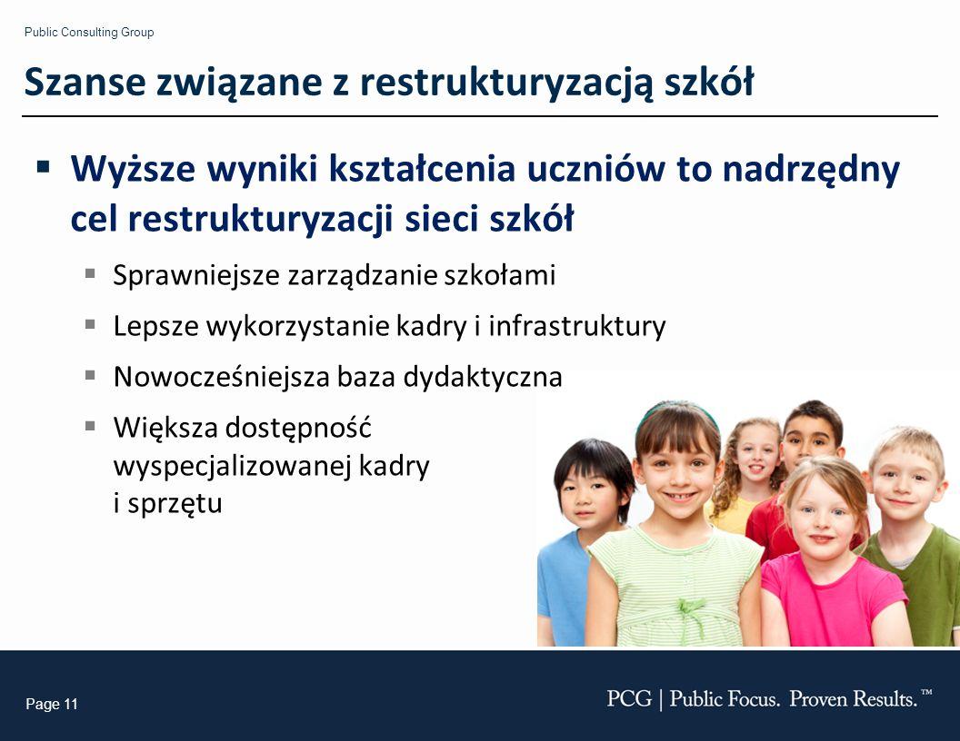 Public Consulting Group Page 11 Szanse związane z restrukturyzacją szkół Wyższe wyniki kształcenia uczniów to nadrzędny cel restrukturyzacji sieci szkół Sprawniejsze zarządzanie szkołami Lepsze wykorzystanie kadry i infrastruktury Nowocześniejsza baza dydaktyczna Większa dostępność wyspecjalizowanej kadry i sprzętu