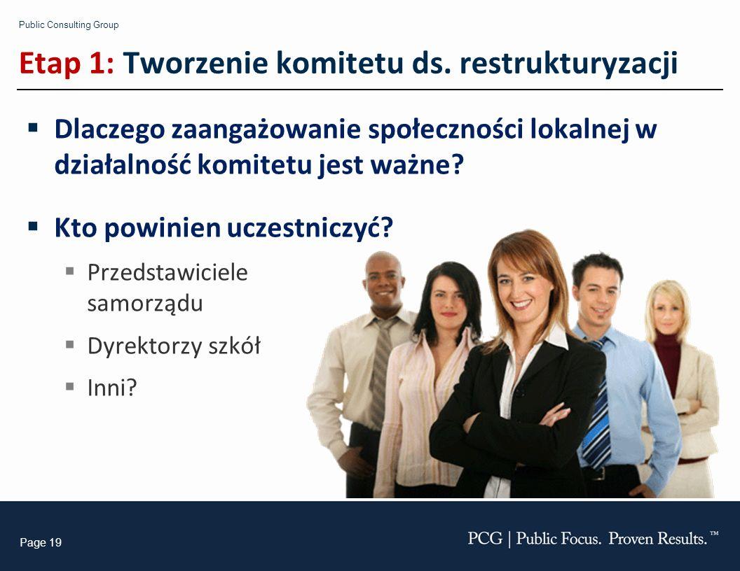 Public Consulting Group Page 19 Etap 1: Tworzenie komitetu ds. restrukturyzacji Dlaczego zaangażowanie społeczności lokalnej w działalność komitetu je
