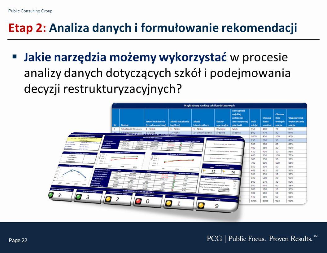 Public Consulting Group Page 22 Etap 2: Analiza danych i formułowanie rekomendacji Jakie narzędzia możemy wykorzystać w procesie analizy danych dotyczących szkół i podejmowania decyzji restrukturyzacyjnych?