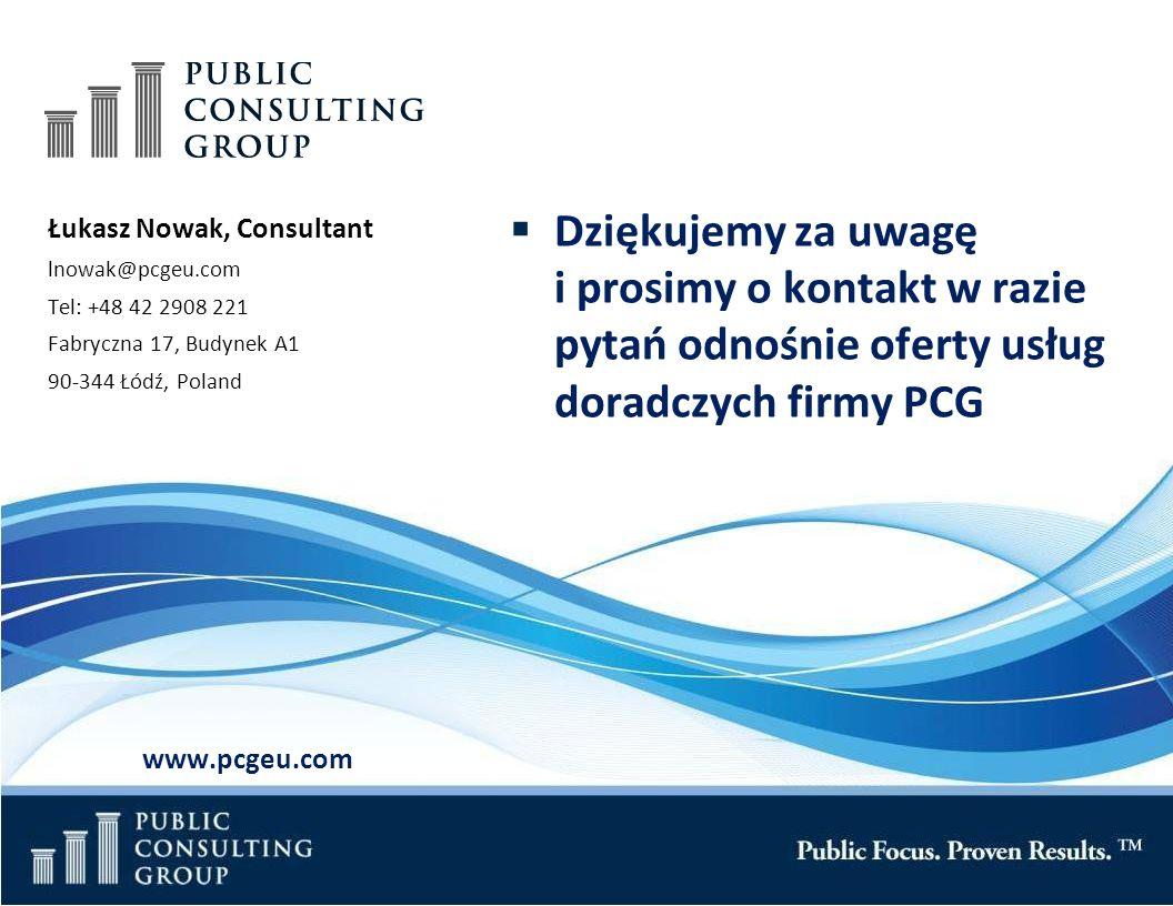 Public Consulting Group Page 30 Łukasz Nowak, Consultant lnowak@pcgeu.com Tel: +48 42 2908 221 Fabryczna 17, Budynek A1 90-344 Łódź, Poland www.pcgeu.com Dziękujemy za uwagę i prosimy o kontakt w razie pytań odnośnie oferty usług doradczych firmy PCG
