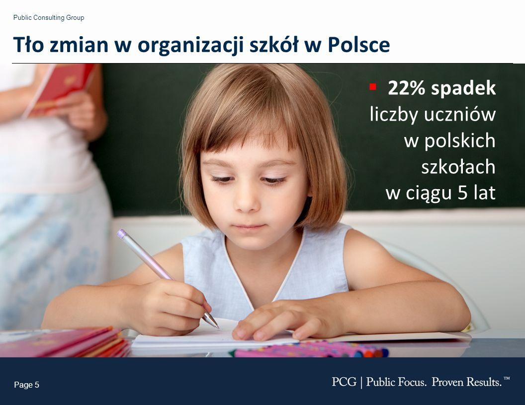 Public Consulting Group Page 5 22% spadek liczby uczniów w polskich szkołach w ciągu 5 lat Tło zmian w organizacji szkół w Polsce