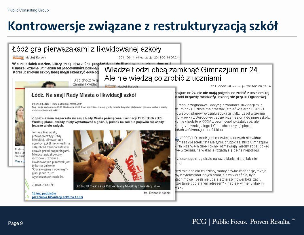 Public Consulting Group Page 9 Kontrowersje związane z restrukturyzacją szkół